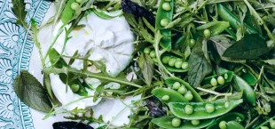 Snap Pea Salad with Burrata from Bon Appetit